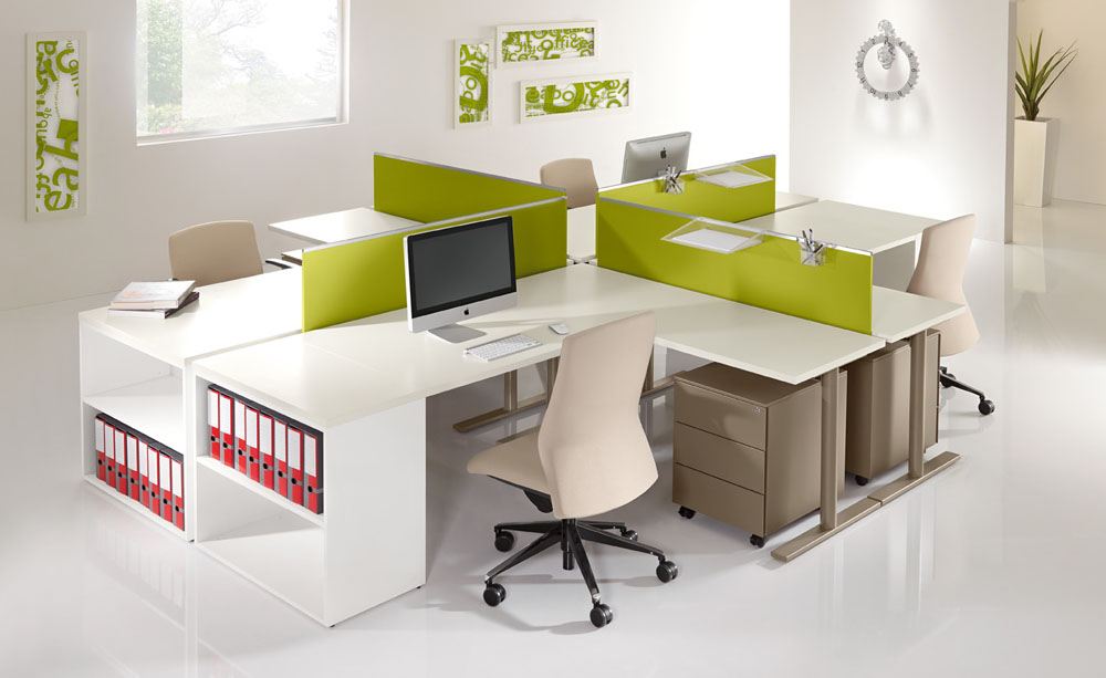 Call centers et open space bench 4 postes coulissants for Bureau 4 postes de travail