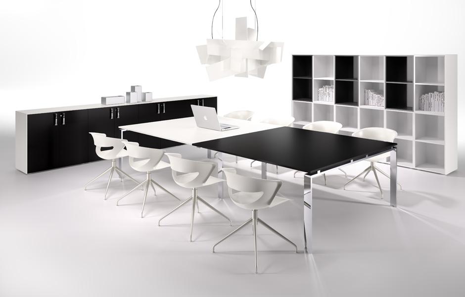 Tables de conf rence table de r union noire et blanche - Table noire et blanche ...