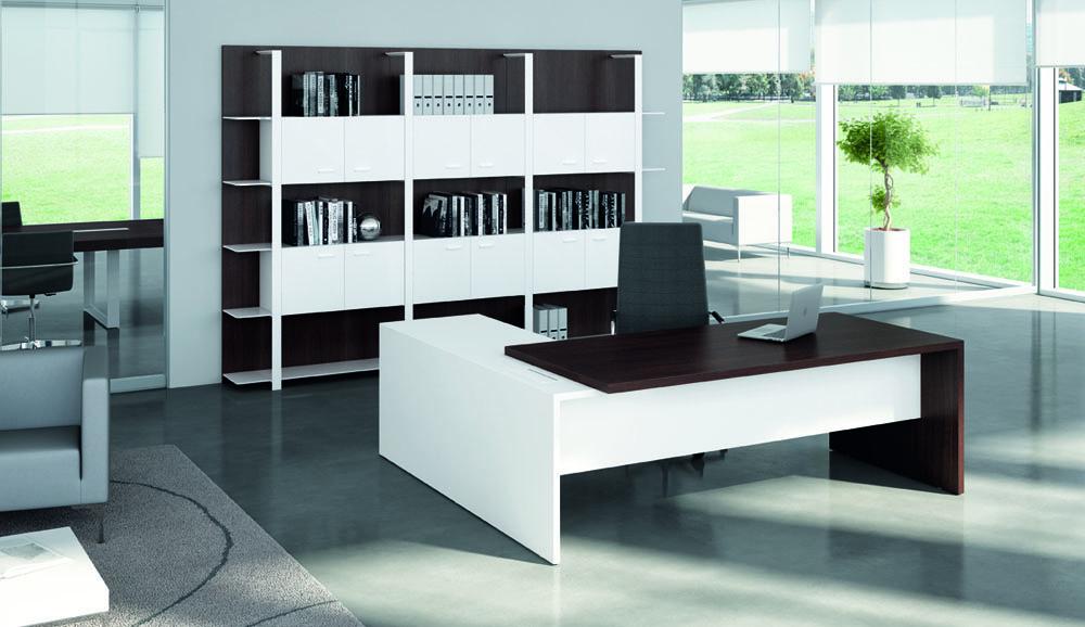 Bureaux de direction bureau t45 avec retour blanc for Bureau blanc avec retour