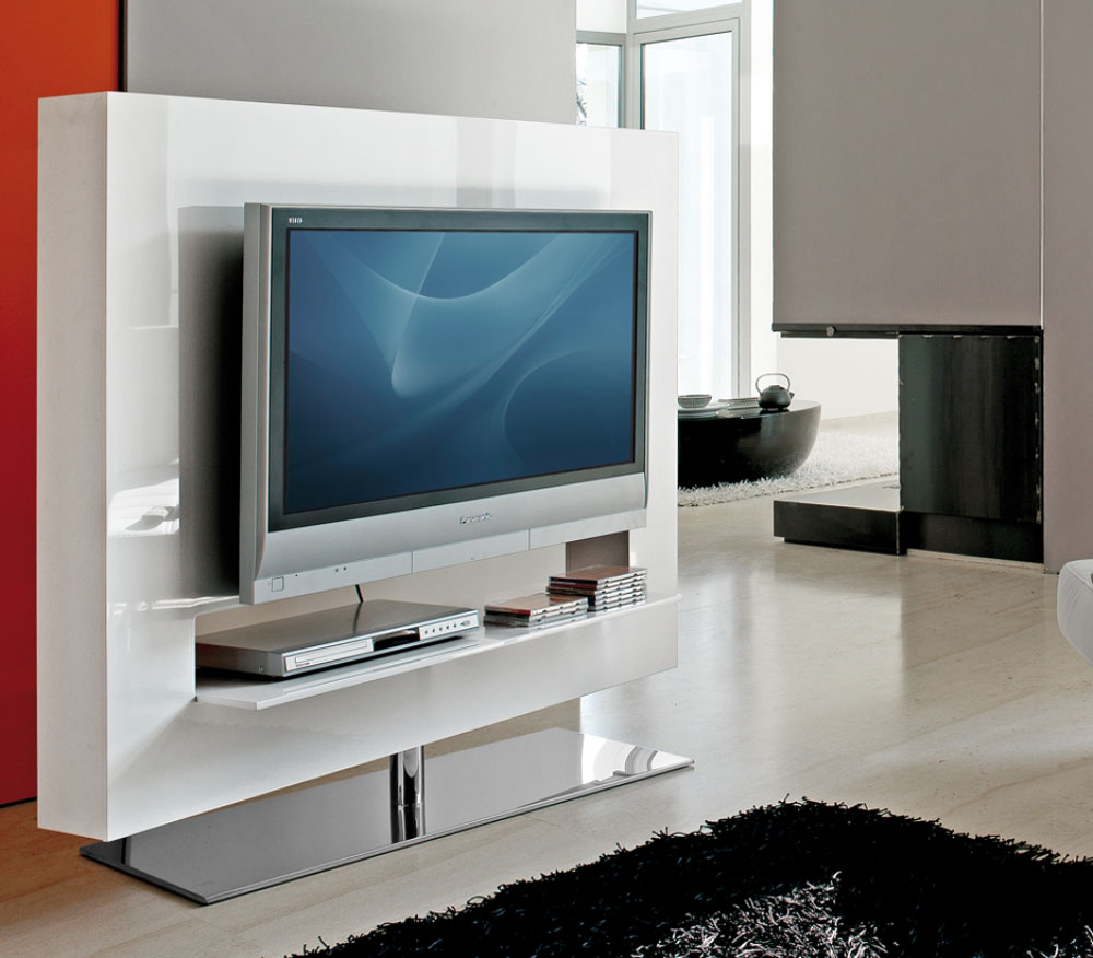 mobilier design meuble tv base pivotante chrom e. Black Bedroom Furniture Sets. Home Design Ideas