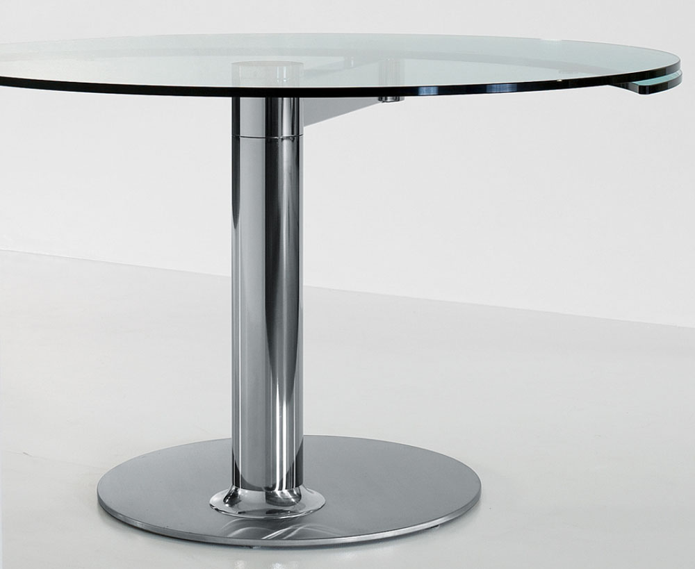 Mobilier design table ronde avec rallonge plinto mario for Table ronde laquee avec rallonge