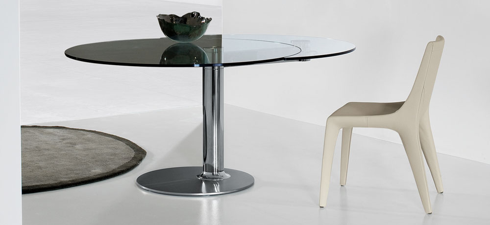 Table ronde avec rallonge design for Table a manger ronde design