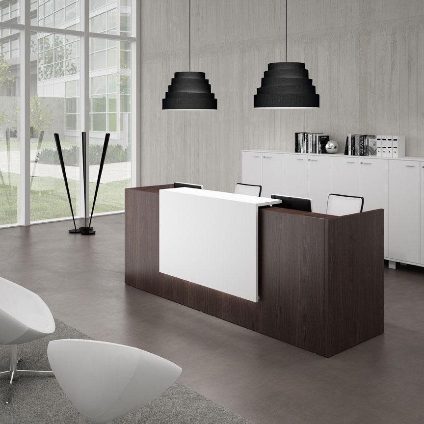 Banques d 39 accueil banque droite weng blanc mobilier for Mobilier bureau wenge