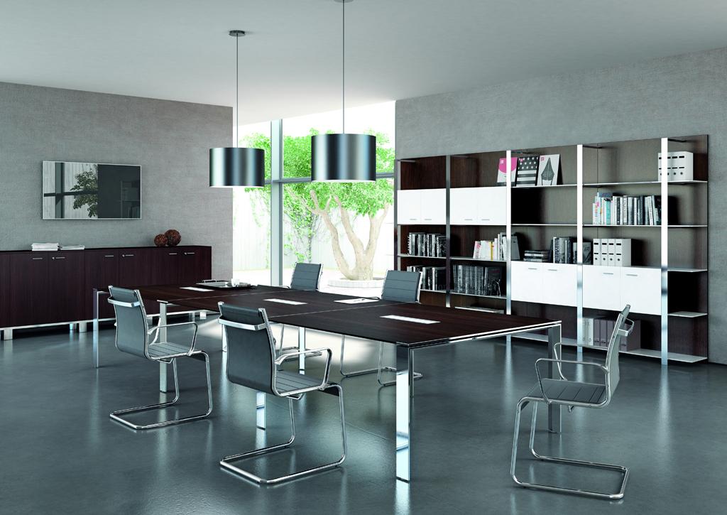 Tables de conf rence table de r union pieds ouverts for Mobilier bureau quadrifoglio
