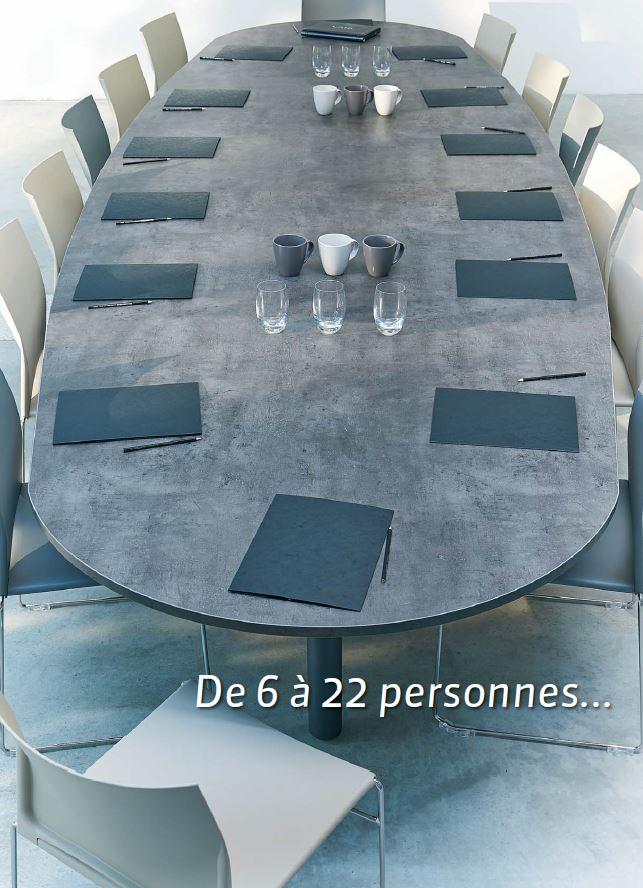 Tables de conf rence table elliptique 14 personnes abia for Table 14 personnes