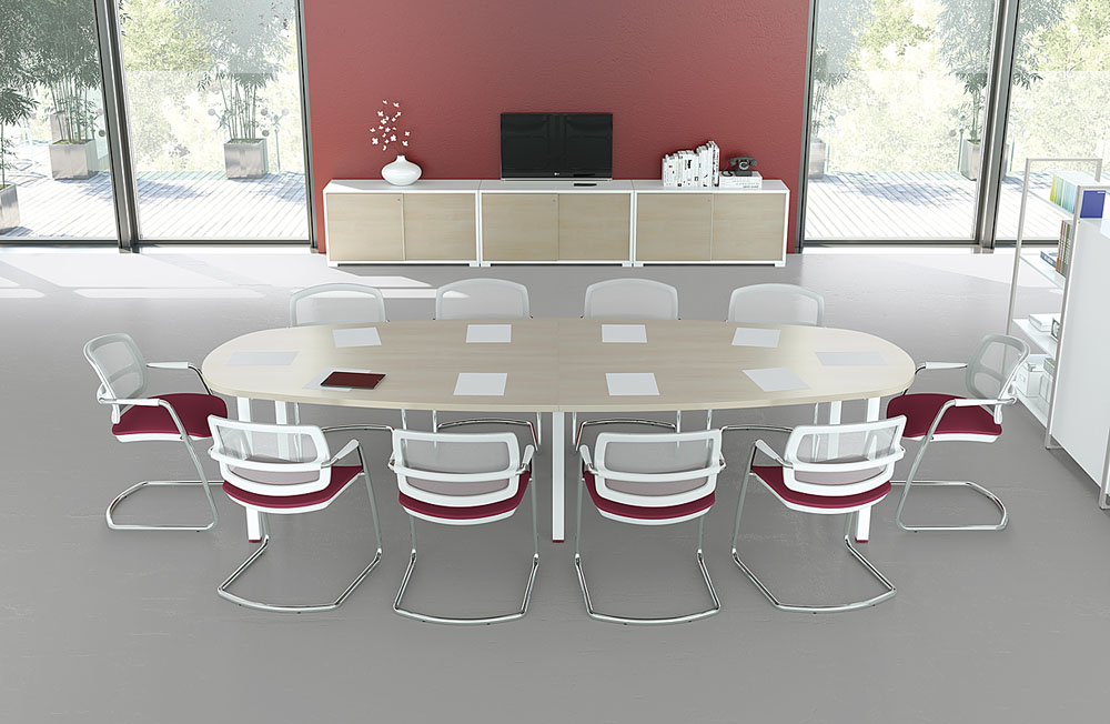 Tables de r union table ovale iq 10 personnes mobilier for Table ronde 8 personnes dimensions