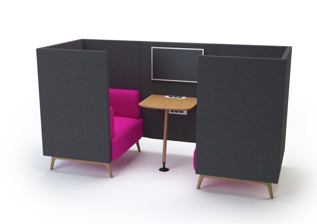 Espaces informels cabine m dia acoustique 2 personnes for Mobilier bureau 2 personnes