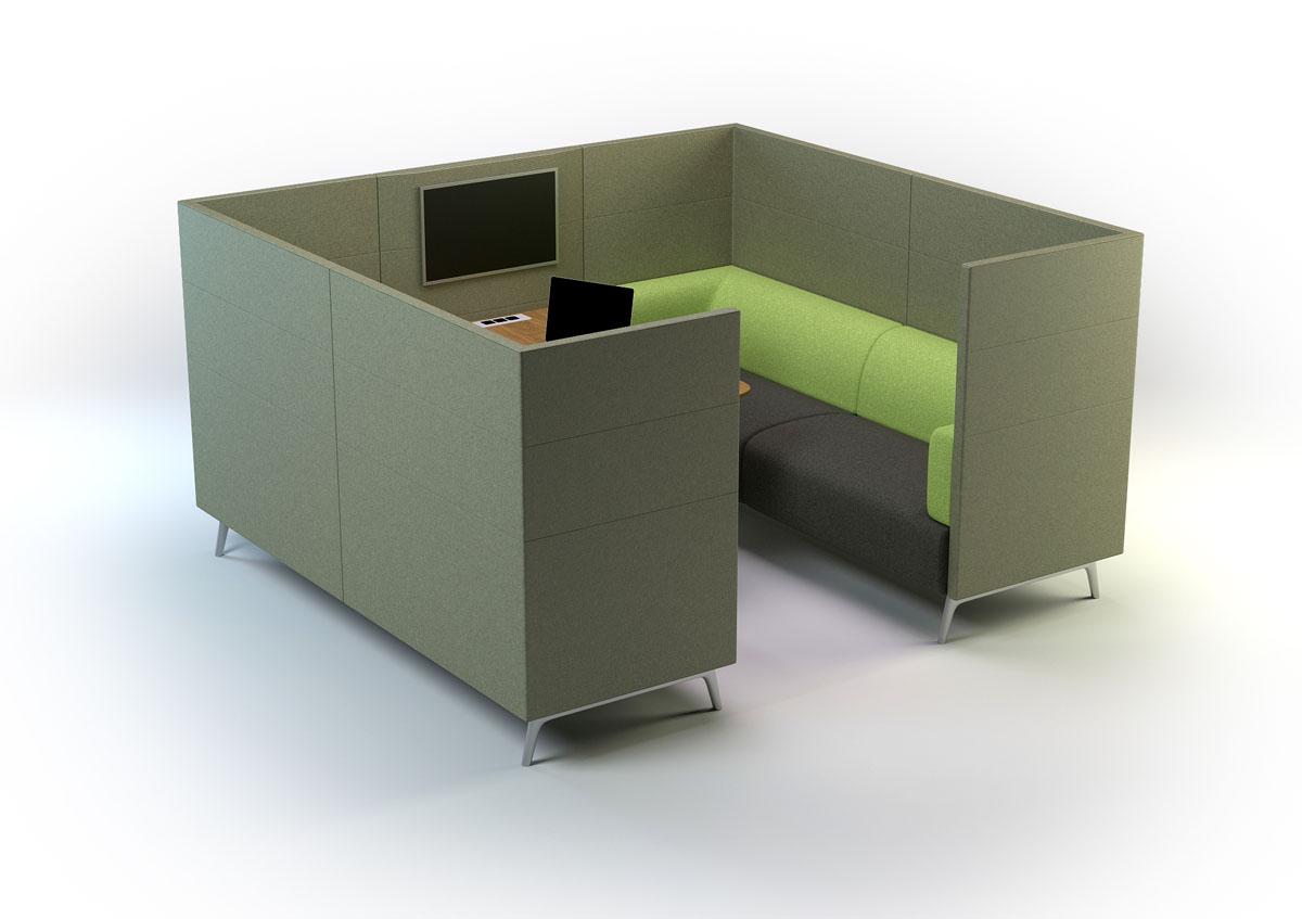 Espaces informels cabine m dia acoustique 6 personnes for Mobilier bureau 4 personnes