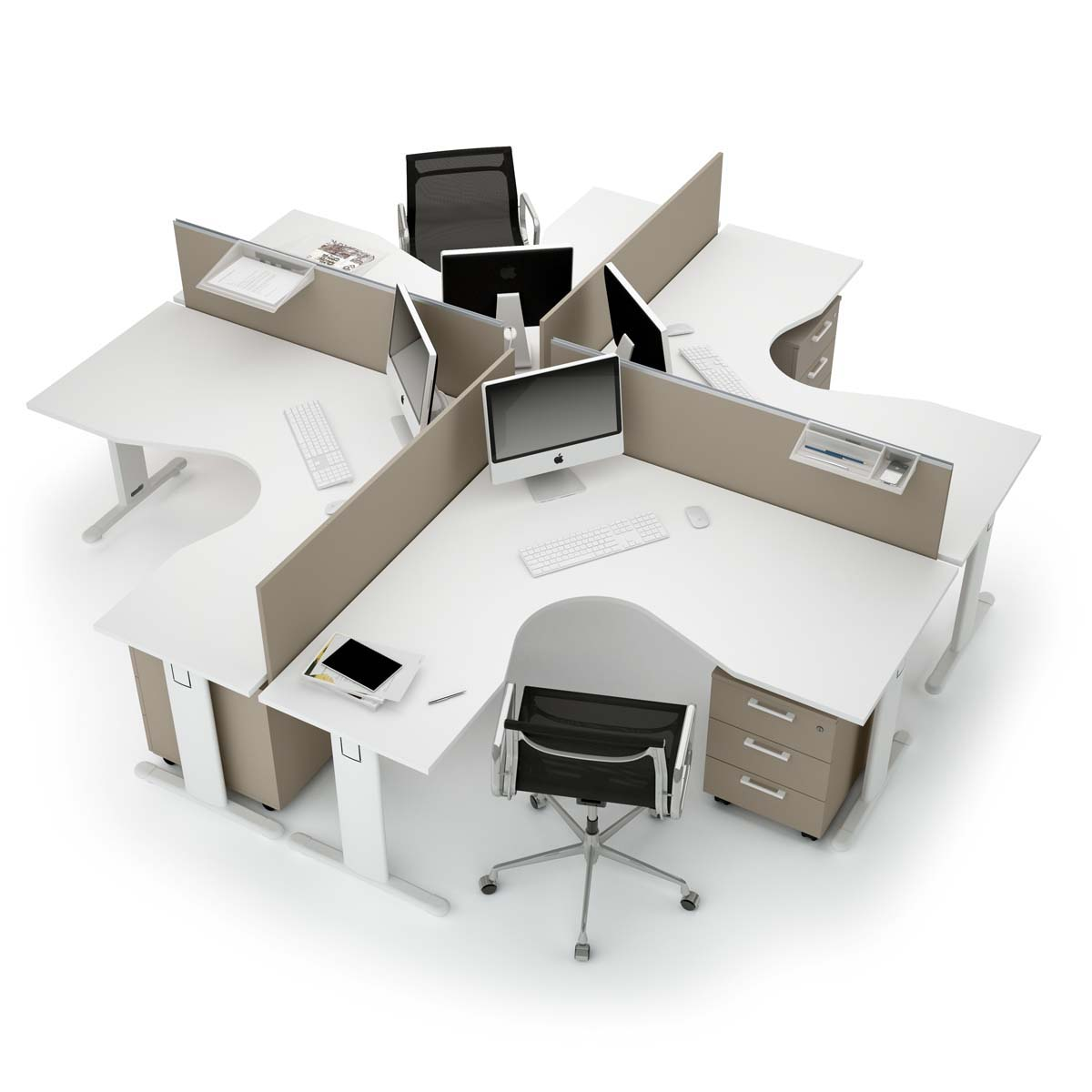 Call centers et open space ensemble galb funny for Mobilier bureau 4 personnes