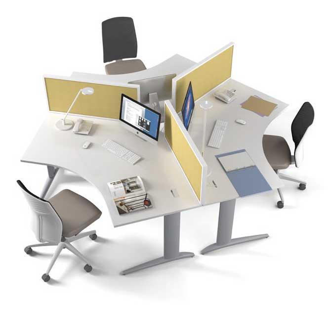 Call centers et open space marguerite 3 postes 120 for Bureau 4 places