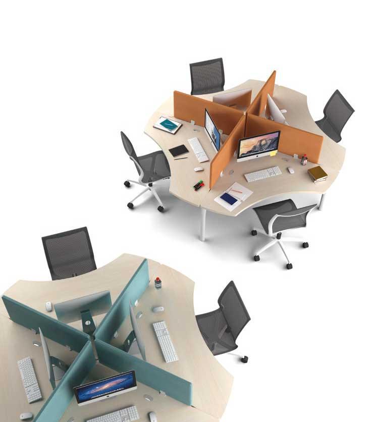 Call centers et open space marguerite 4 postes 90 time for Mobilier bureau 4 postes
