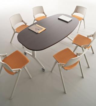 Table ovale avec plateau rabattable