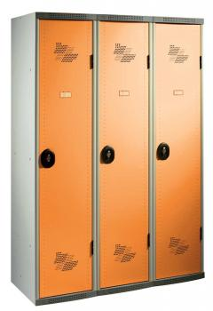 Vestiaire 3 cases portes orange AC