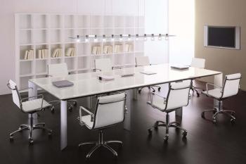 Table de réunion plateau verre blanc Solo Design