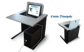 Poste informatique avec écran escamotable
