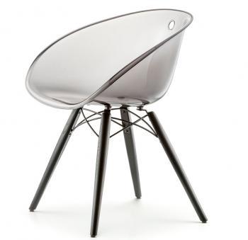 Chaise GLISS transparente piétement bois