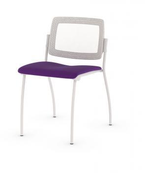 Chaise Easy 4 pieds dossier résille blanche