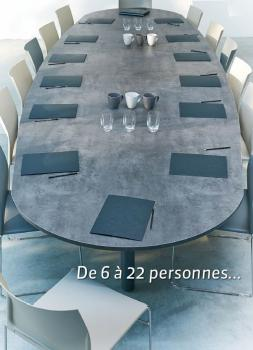 Table Elliptique 14 Personnes Abia