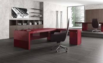 Bureau Executive BK Laqu� et Cuir Rouge