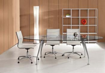 Bureau Direction Ovale en Verre Transparent