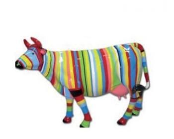 Vache Multicolores en Fibre de Verre