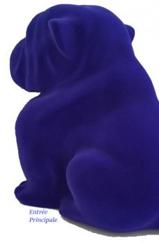 Bouledogue Assis 42 cm Flocage Bleu