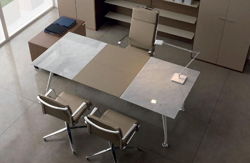 Mobilier de bureau de direction bureau cuir et marbre infinity