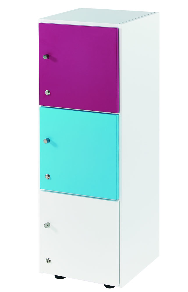 Armoires armoire colonne 3 cases avec portes cl for Colonne bureau