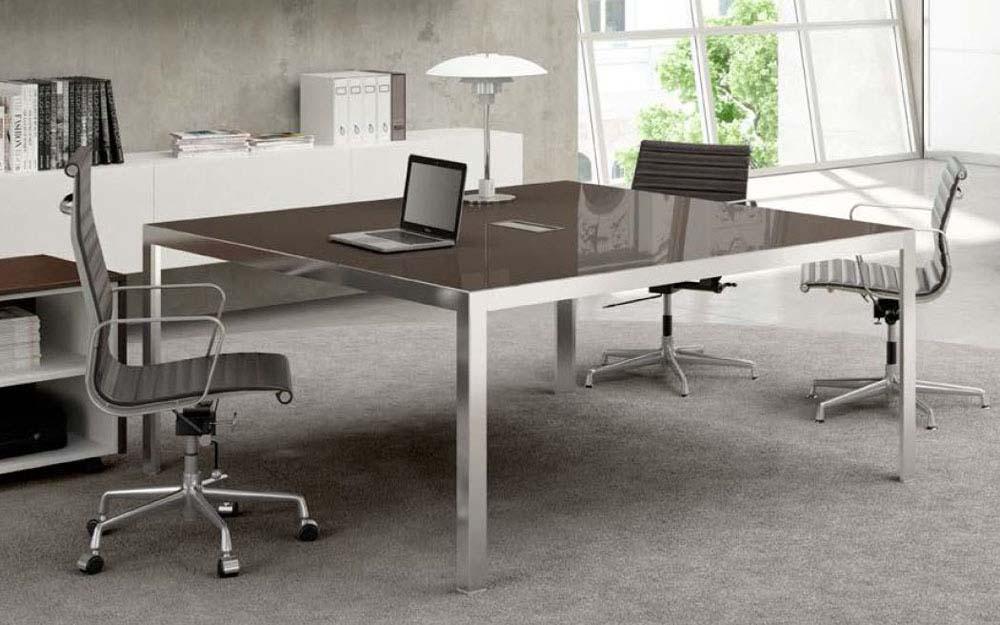 Bureaux de direction bureau carré en verre funny plus mobilier
