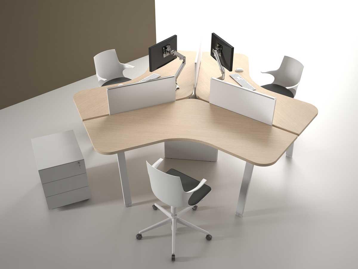Call centers et open space ensemble 3 postes design mobilier de bureau entr e principale for Meuble 70x30