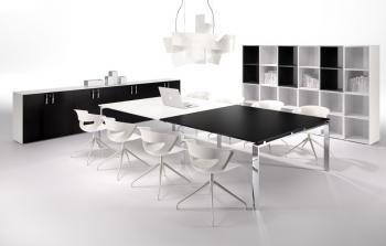 Table de réunion noire et blanche MEDLEY