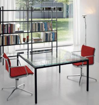 Table Bartolo en verre transparent