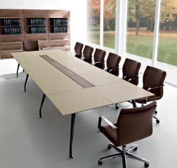 Table de réunion plateau cuir Infinity