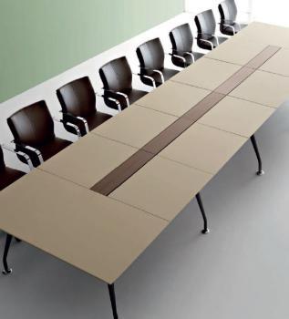 Table de réunion plateau cuir Infinity 20