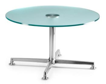 Table Basse Ronde Verre et Chrome Curos