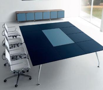 Table Infinity plateau cuir avec panneau central
