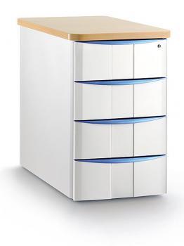 Caisson 4 tiroirs hauteur bureau avec top