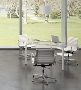 Table de réunion YOGA en verre transparent