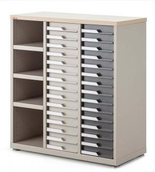 Comptoir mixte 3 colonnes 30 tiroirs et 3 étagères
