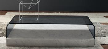 Table Basse Marbre et Verre Ribbon