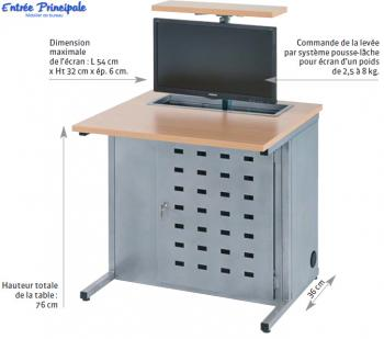 Table Informatique avec Ecran Extractible