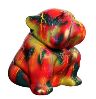 Bouledogue Assis 60 cm Coulures Multicolores