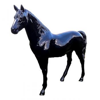 Cheval Noir Grandeur Nature Fibre de Verre