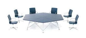 Table de Réunion Hexagonale Cuir