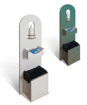 Distributeur de Gel, Gants et Panier, Recyclable