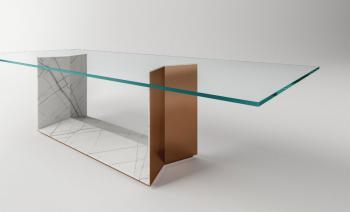 Table en Verre et Marbre Stone