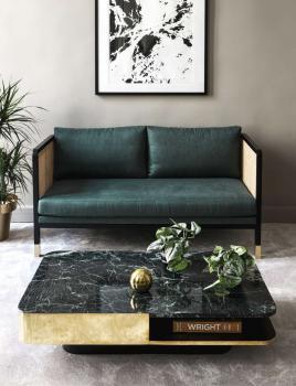 Table Basse Lounge Marbre Vert et Laiton